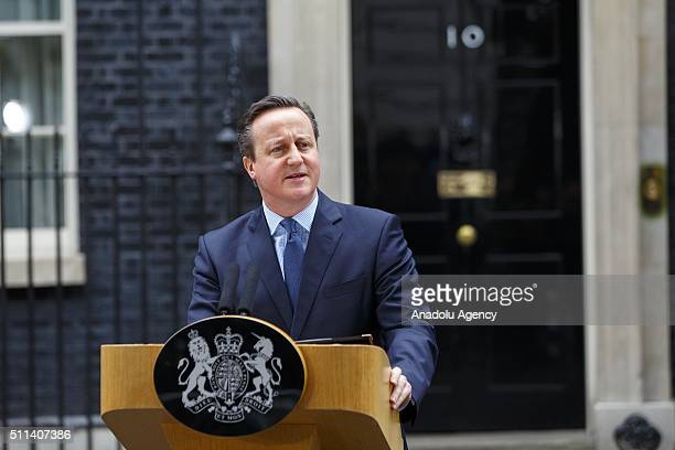 British Prime Minister David Cameron giving a statement in Downing Street London England on February 20 2016 to announce a referendum will be held on...