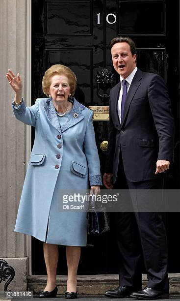 British Prime Minister David Cameron greets former Prime Minister Baroness Thatcher on the steps of Number 10 Downing Street on June 8 2010 in London...