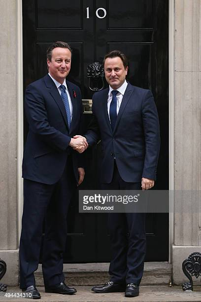 British Prime Minister David Cameron greets Luxembourg's Prime Minister Xavier Bettel to 10 Downing Street on October 27 2015 in London England The...