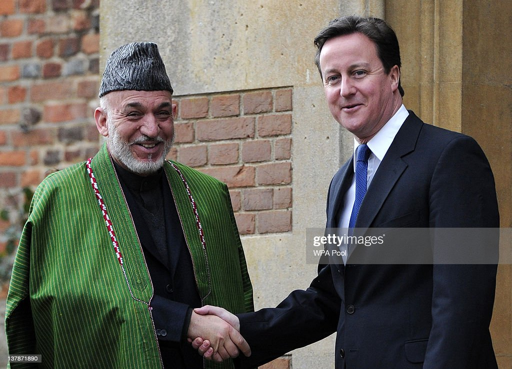 Afghan President Karzai Meets With Prime Minister David Cameron At Chequers
