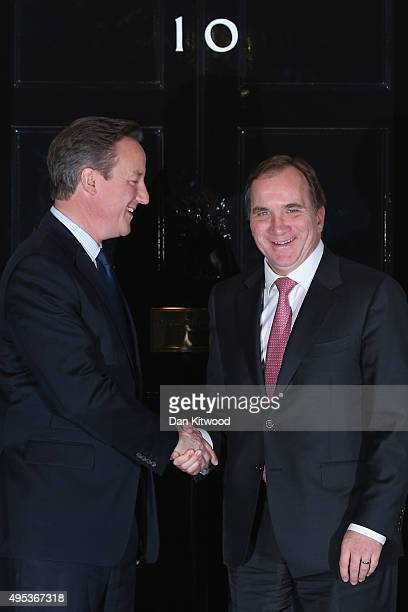 British Prime Minister David Cameron greets Swedish Prime Minister Stefan Lofven to Downing Street on November 2 2015 in London England The pair are...