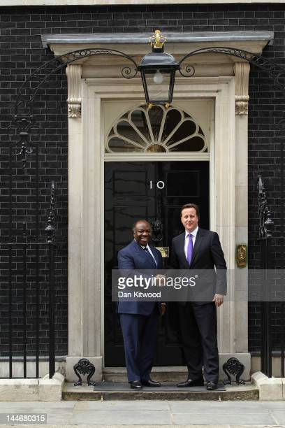 British Prime Minister David Cameron greets the President Of Gabon AliBen Bongo Ondimba at 10 Downing Street on May 17 2012 in London England Mr...