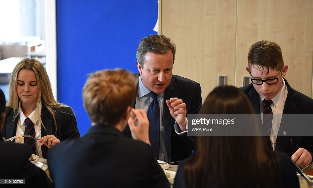 British Prime Minister David Cameron has lunch with pupils during a visit to Reach Academy Feltham on July 12, 2016 in London, England. British Prime Minister David Cameron will step aside tomorrow (Wednesday) after his final Prime Minister's Questions allowing current Home Secretary Theresa May to move into 10 Downing Street. She was selected unopposed by Conservative MPs to be their new leader.