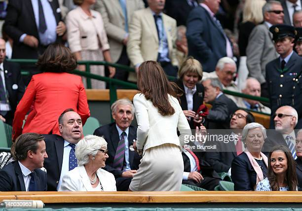 British Prime Minister David Cameron his mother Mary Cameron Catherine Duchess of Cambridge and Pippa Middleton sit in the Royal Box during the...