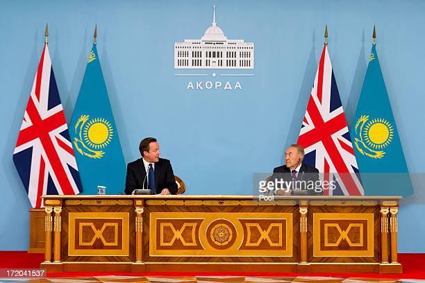 British Prime Minister David Cameron holds a press conference with Kazakhstan President Nursultan Nazarbayev after signing a strategic partnership...