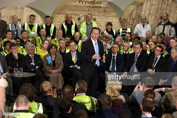 British Prime Minister David Cameron holds a 'Question and Answer' session with workers from Prysmian Cables Systems Ltd as he campaigns for the...