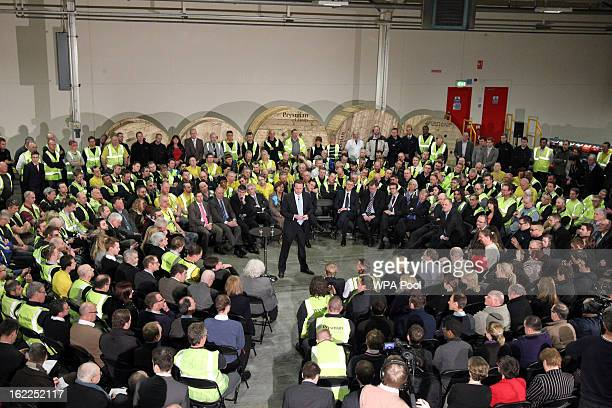 British Prime Minister David Cameron holds a 'Question and Answer' session with workers from Prysmian Cables & Systems Ltd as he campaigns for the...