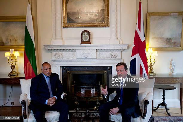 British Prime Minister David Cameron holds talks with Bulgarian Prime Minister Boyko Borisov inside number 10 Downing street on August 07 2012 in...