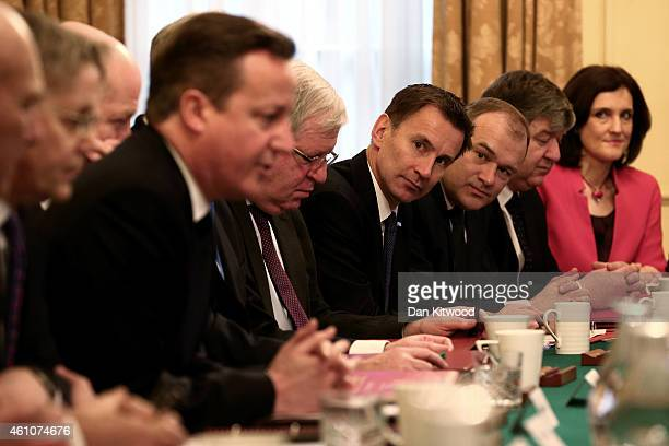 British Prime Minister David Cameron hosts a cabinet meeting as Health Secretary Jeremy Hunt and Energy and Climate Secretary Ed Davey look on at 10...