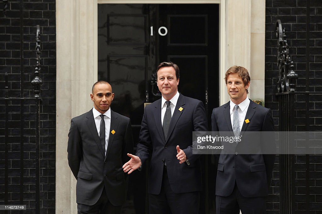 Prime Minister David Cameron Meets With Formula One Drivers Lewis Hamilton And Jenson Button : News Photo