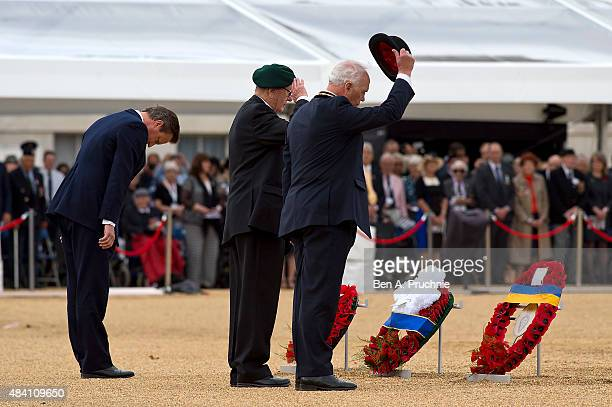 British Prime Minister David Cameron lays wreath during the Drumhead Service during the 70th Anniversary commemorations of VJ Day on Horse Guards...