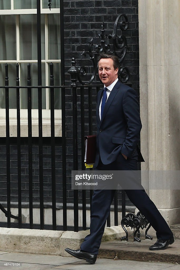 David Cameron Leaves For Parliament To Attend The Last Prime Minister's Questions Before The Election