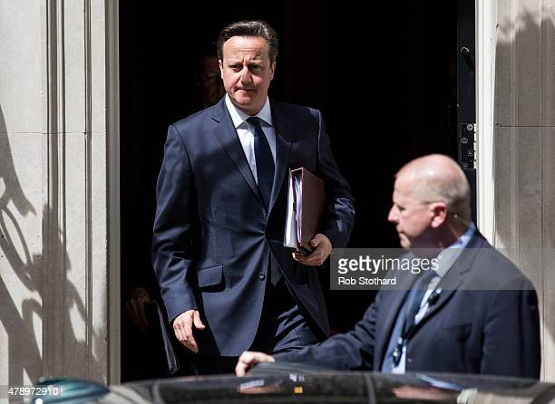 British Prime Minister David Cameron leaves 10 Downing Street on June 29 2015 in London England Mr Cameron is expected to brief Members of Parliament...