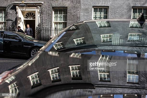 British Prime Minister David Cameron leaves 10 Downing Street to attend Prime Ministers Questions on April 13 2016 in London England Downing Street...