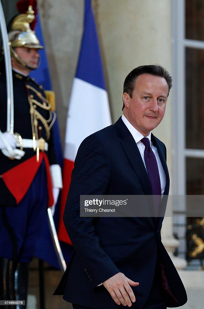 British Prime Minister David Cameron leaves after a meeting with French President Francois Hollande at the Elysee Palace on May 28, 2015 in Paris, France. David Cameron met Francois Hollande to discuss the situation concerning the United Kingdom in the European Union.