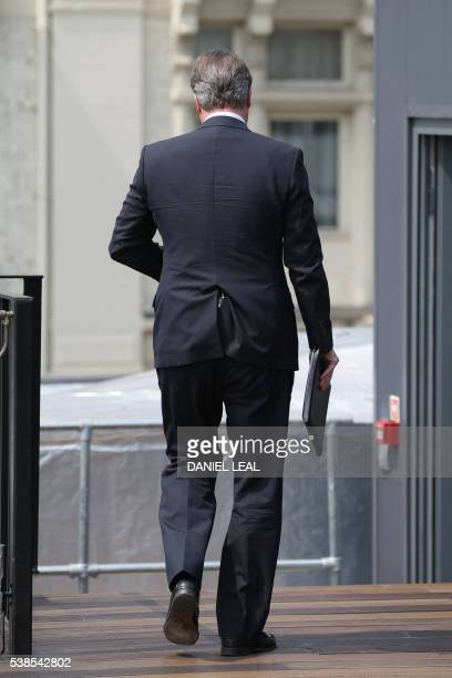 British Prime Minister David Cameron leaves after delivering a speech on the upcoming EU referendum at the Savoy Place in London on June 7 2016 Prime...