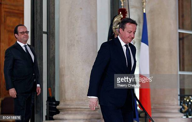 British Prime minister David Cameron leaves after his meeting with French President Francois Hollande at the Elysee Presidential Palace on February...