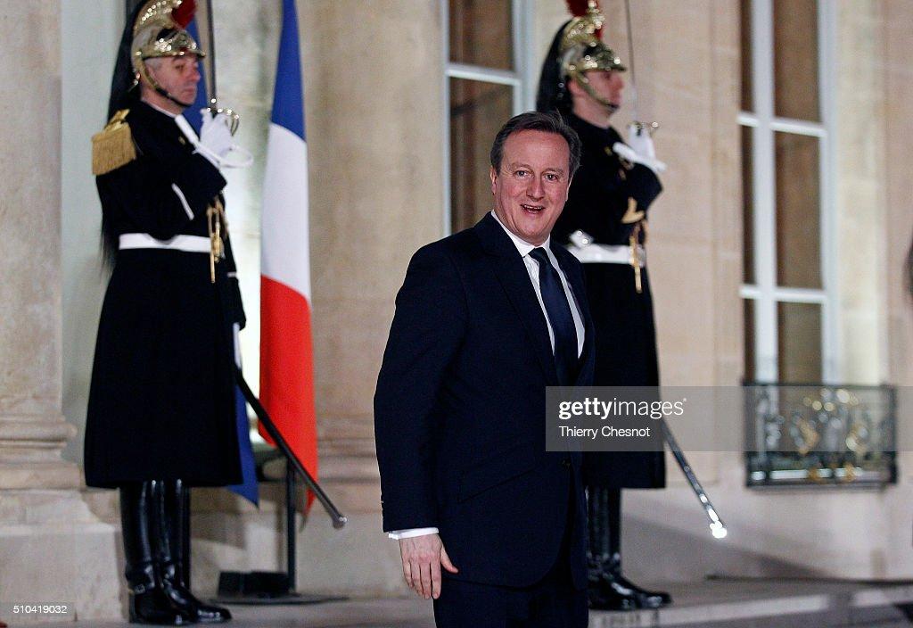 British Prime Minster David Cameron Meets President Hollande Ahead Of EU Meetings : News Photo