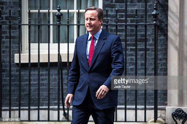 British Prime Minister David Cameron leaves Downing Street before making a statement on July 11 2016 in London England Mr Cameron has announced he...