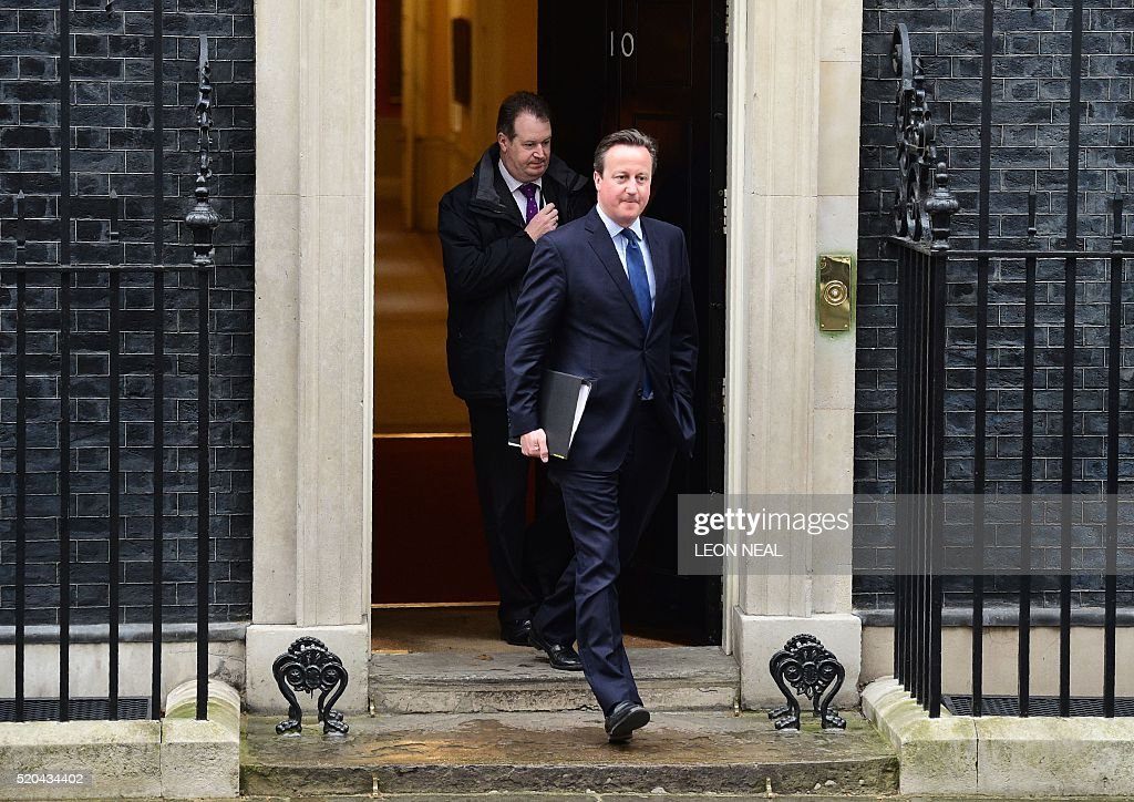 British Prime Minister David Cameron leaves Downing street to make a statement at the Houses of Parliament on April 11, 2016 in London. Cameron braced for a parliamentary grilling today over his offshore dealings revealed by the Panama Papers leak as he announced plans to criminalise firms whose staff facilitate tax evasion. / AFP / LEON