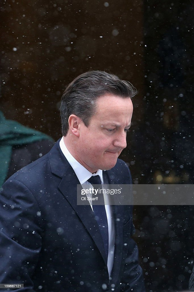 British Prime Minister David Cameron leaves Number 10 Downing Street to travel to the House of Commons to deliver a statement on the unfolding hostage situation in Algeria on January 18, 2013 in London, England. Islamist militants had claimed to be holding 41 foreigners hostage at a gas treatment plant in the Algerian desert. At least four hostages and several militants were killed yesterday when Algerian troops stormed an area of the plant.