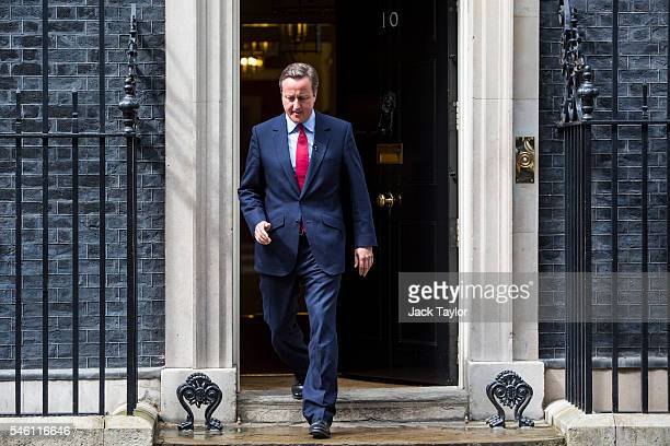 British Prime Minister David Cameron leaves Number 10 Downing Street before making a statement on July 11 2016 in London England Mr Cameron has...