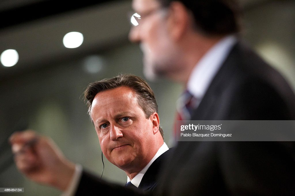 British Prime Minister David Cameron (L) listens as Spanish Prime Minister Mariano Rajoy (R) speaks during a press conference at Moncloa Palace on September 4, 2015 in Madrid, Spain. David Cameron is visiting Spain and Portugal as part of a tour to seek for support from fellow European leaders to go along with a renegotiation of Britain's EU membership. Rajoy and Cameron are also expect to talk about the refugees crisis the European Union is facing.