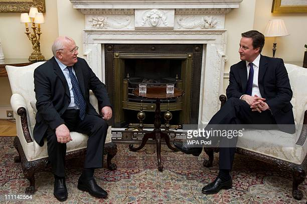 British Prime Minister David Cameron meets former Soviet leader Mikhail Gorbachev at 10 Downing Street on March 30 2011 in London United Kingdom A...