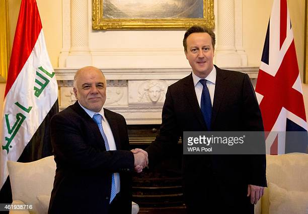 British Prime Minister David Cameron meets Iraqi Prime Minister Haider al-Abadi at 10 Downing Street on January 22, 2015 in London. The Iraqi PM has...