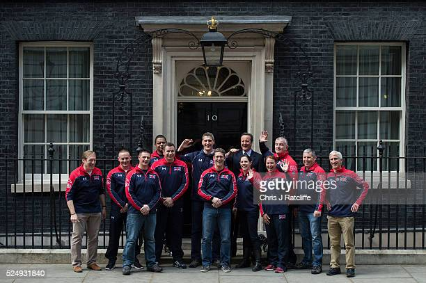 British Prime Minister David Cameron meets members of the United Kingdom team attending the Invictus Games at 10 Downing Street on April 27 2016 in...