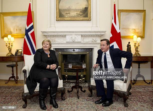 British Prime Minister David Cameron meets Norwegian Prime Minster Erna Solberg at 10 Downing Street in central London on January 15 2014 AFP...
