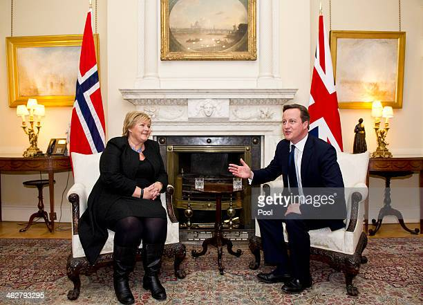 British Prime Minister David Cameron meets the Prime Minster of Norway Erna Solberg at 10 Downing Street on January 15 2014 in London England Solberg...
