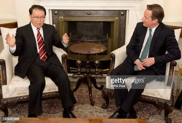British Prime Minister David Cameron meets with Chinese Communist Party official Li Changchun at Downing Street on April 17, 2012 in London, England....