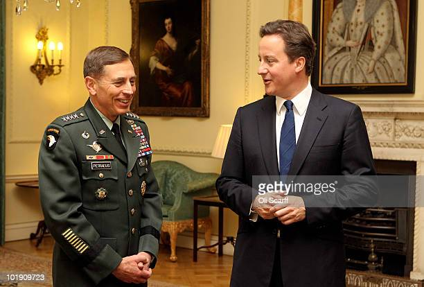 British Prime Minister David Cameron meets with General David Petraeus, the Head of US Central Command, in Number 10 Downing Street on June 9, 2010...