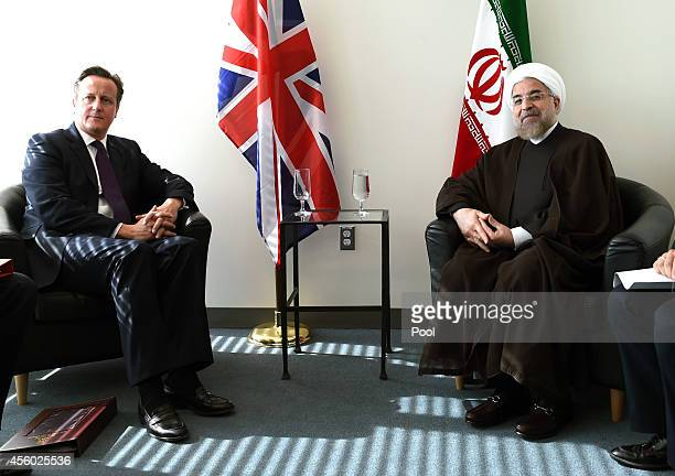British Prime Minister David Cameron meets with Iranian President Hassan Rouhani at the Unityed Nations during the 69th Session of the UN General...