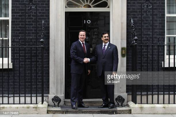 British Prime Minister David Cameron meets with Pakistani Prime Minister Yousuf Raza Gilani outside Number 10 Downing Street on May 10, 2012 in...