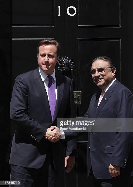 British Prime Minister David Cameron meets with President Zardari Of Pakistan in Downing Street on July 1 2011 in London England Mr Zardari is in...
