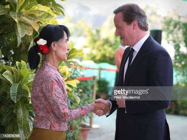 British Prime Minister David Cameron meets with prodemocracy leader Aung San Suu Kyi on April 13 2012 in Yangon Myanmar Mr Cameron is ending his five...