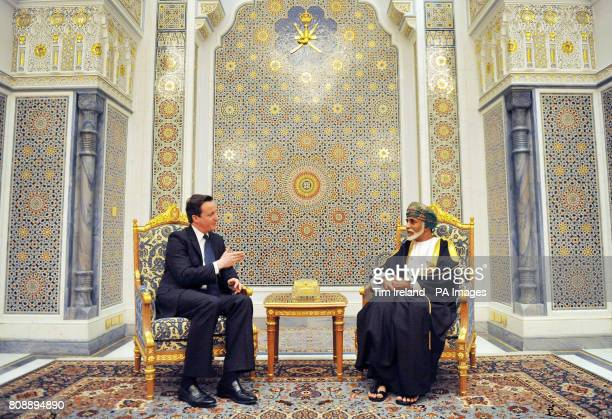 British Prime Minister David Cameron meets with Sultan Qaboos bin Said al Said at his palace in Muscat the capital of Oman