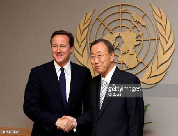 British Prime Minister David Cameron meets with UN Secretary General Ban Kimoon in the UN headquarters on July 21 2010 in New York City Mr Cameron...