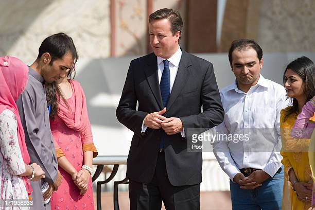 British Prime Minister David Cameron meets young citizens on the British Council Programme at the Pakistan Mnument on June 30 2013 in Islamabad...
