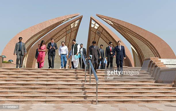 British Prime Minister David Cameron meets young citizens on the British Council Programme at the Pakistan Monument on June 30 2013 in Islamabad...