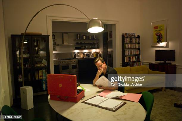 British Prime Minister David Cameron photographed at 6am working on the contents of his Red Box in the flat above 11 Downing Street where he lives...