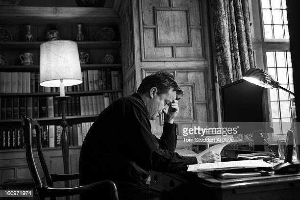 British Prime Minister David Cameron photographed at work in his study at Chequers The 16th century house near Aylesbury Buckinghamshire has been the...
