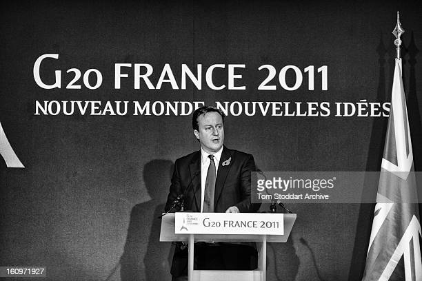 British Prime Minister David Cameron photographed during his news conference on the second day of the G20 Summit in Cannes