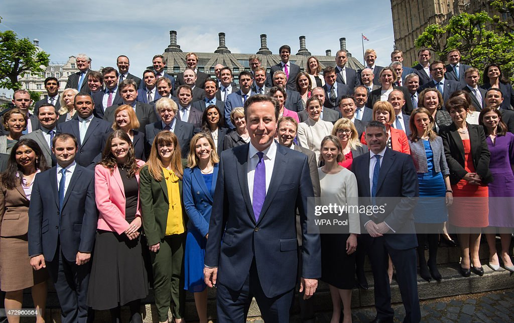 British Prime Minister David Cameron poses for a photo with the newly elected Conservative Party MPs in Palace Yard on May 11, 2015 in London, England. Prime Minister David Cameron continues to announce his new cabinet with many ministers keeping their old positions.