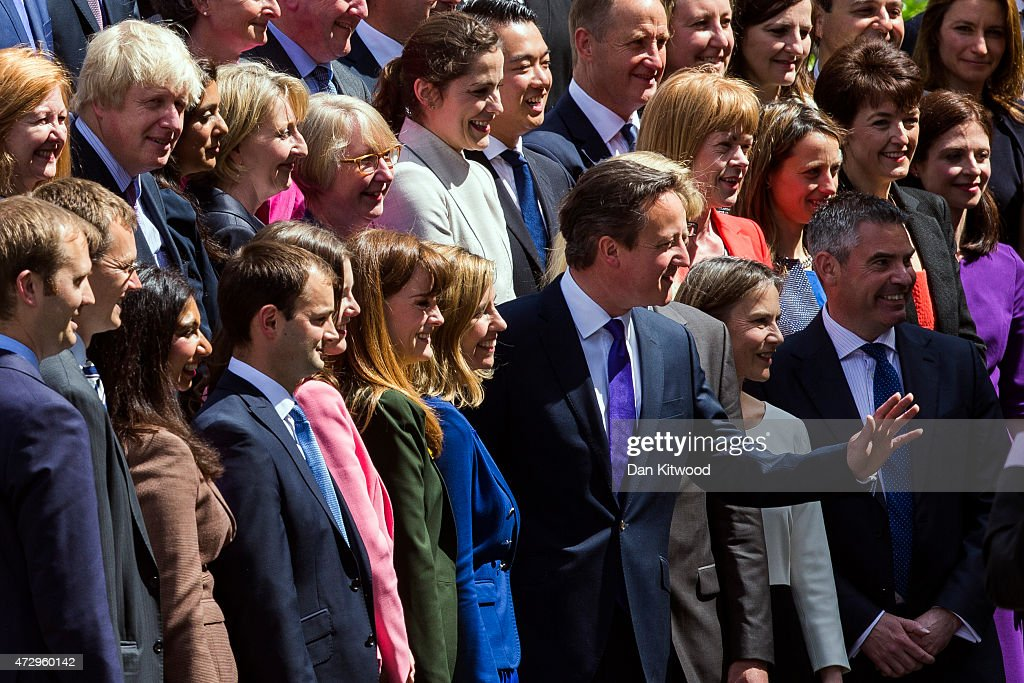 British Prime Minister David Cameron poses for a picture with the new Conservative Party MPs in Palace Yard on May 11, 2015 in London, England. Prime Minister David Cameron continues to announce his new cabinet with many ministers keeping their old positions.