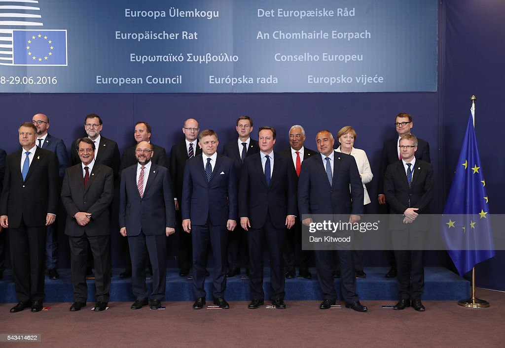 British Prime Minister David Cameron Attends European Council Meeting Following The UK's Decision To Leave The EU : ニュース写真
