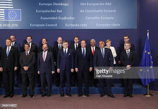 British Prime Minister David Cameron poses for the last time for a group family photo with the European Council during a European Council Meeting at...