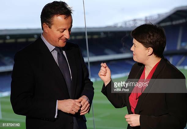 British Prime Minister David Cameron poses with Scottish Conservative leader Ruth Davidson at the Scottish Conservative conference at Murrayfield...